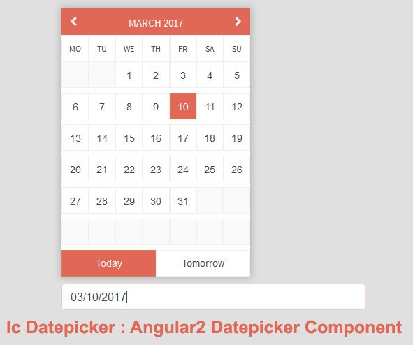 Ic Datepicker : Angular2 Datepicker ComponentAngularJS