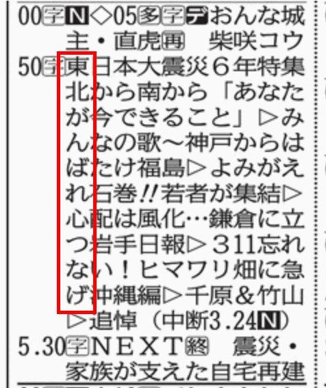 今日、2017年3月11日の河北新報・テレビ欄 NHK縦読み:「東北がんばれ心つなげ」 #東日本大震災から6年 #東日本大震災 #震災6年