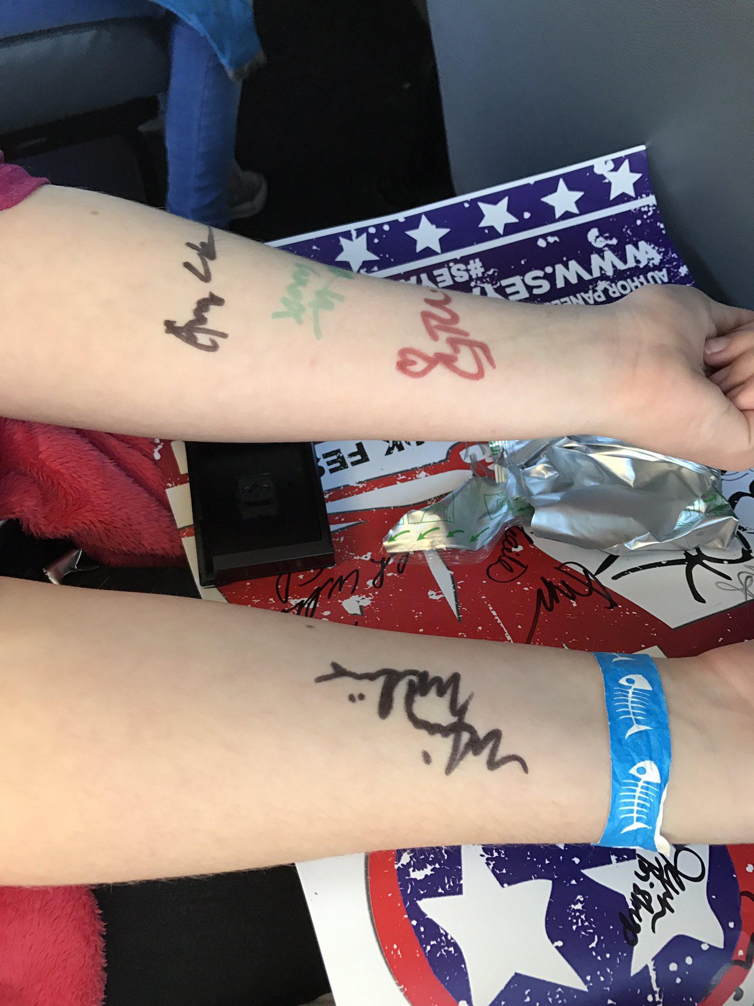 @MindyMcGinnis and @IWGregorio signed my arms...😬 https://t.co/szBu28y17w