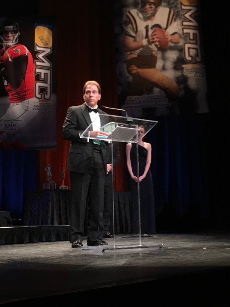 Head coach Nick Saban accepts the Munger National Coach of the Year Fr...