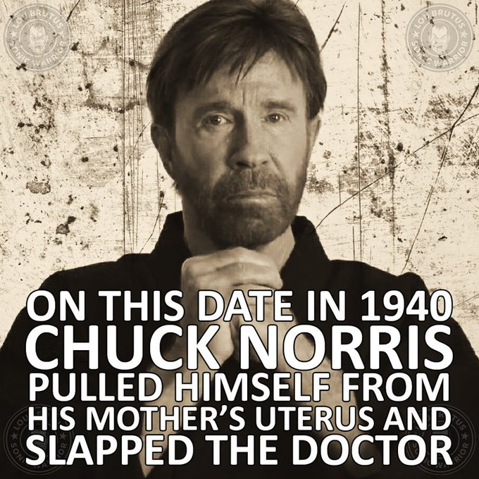 Happy 77th Birthday to the legend Chuck Norris. Be glad he allowed you to live another year.