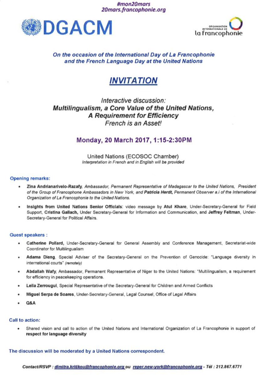 United Nations DGACM on Twitter Join us 20 March to celebrate