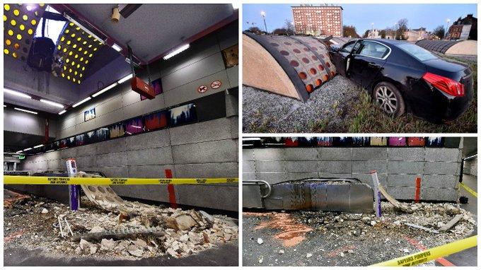 Un accident de la route provoque l effondrement du toit du - Station essence porte des postes lille ...