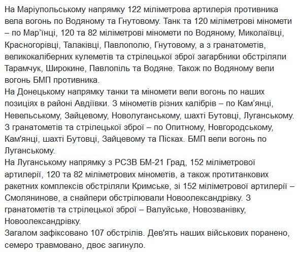 107 attacks on Ukrainian positions yesterday, 2 Ukrainian soldiers killed, 15 were wounded.