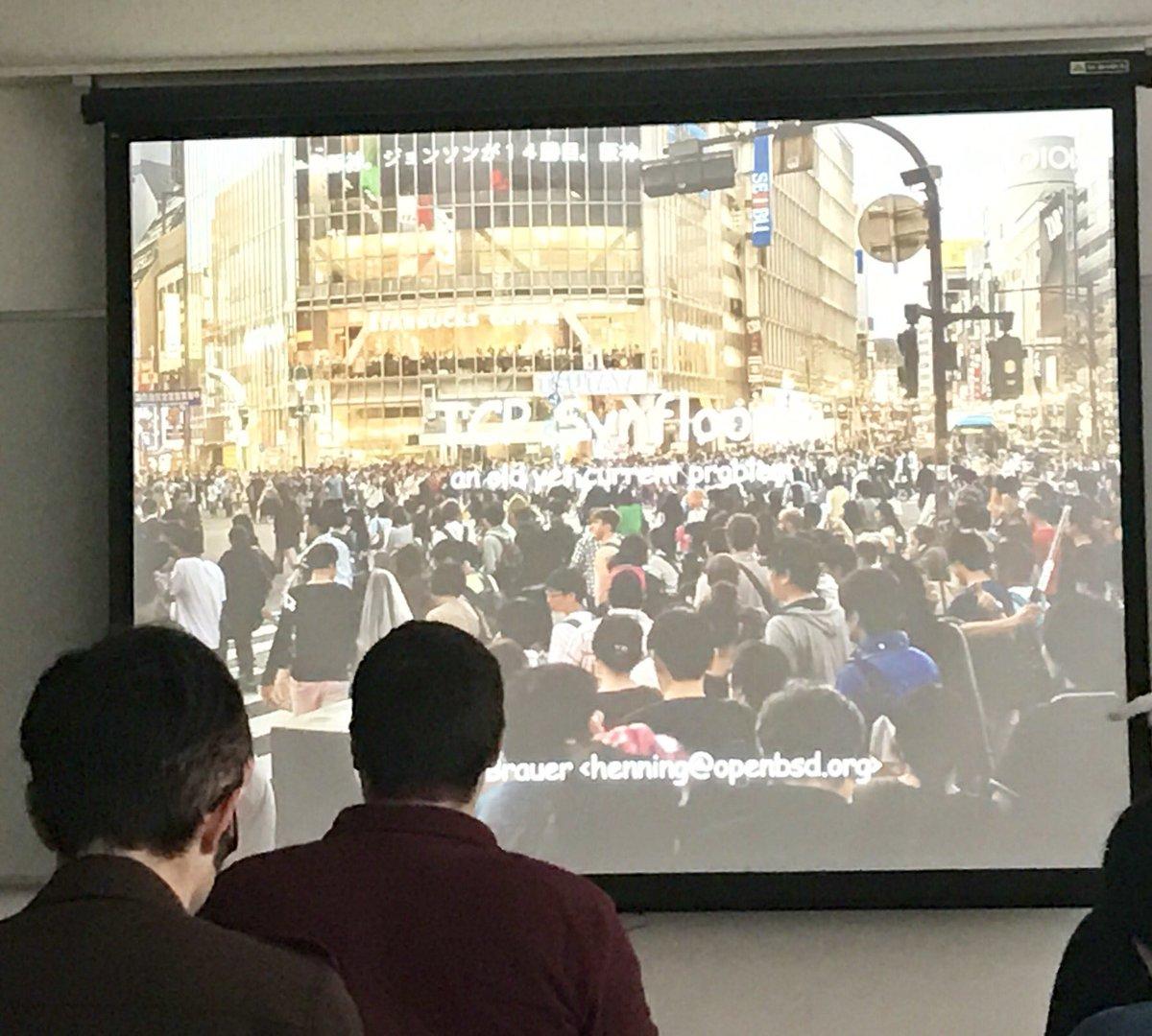 Synfloodのスライドの画像が渋谷の交差点なのウケる #AsiaBSDCon