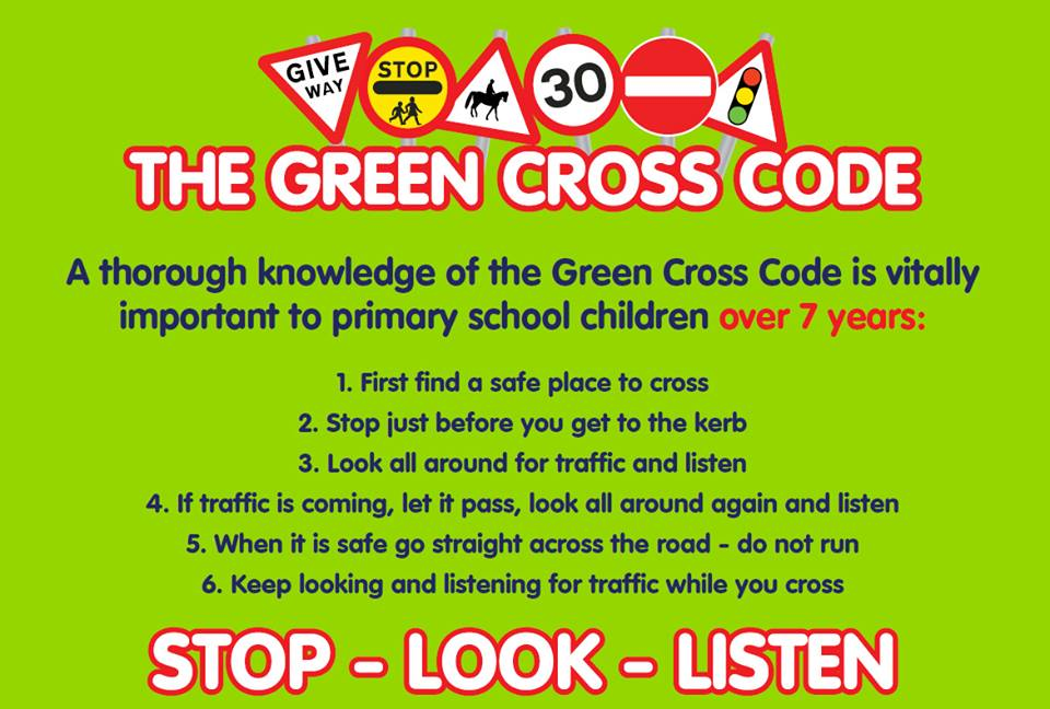 """roadtozero on Twitter: """"STOP, LOOK and LISTEN. The GREEN CROSS CODE – It is  vitally important that we teach children how to cross the road safely. A  skill for life.… https://t.co/vw7cr6FRoK"""""""