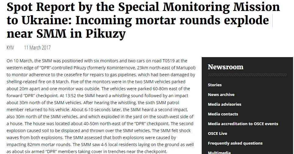 Spot Report by OSCE SMM: Incoming mortar rounds explode near SMM in Pikuzy