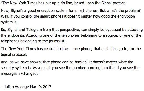 Julian Assange on Signal, Telegram and the New York Times
