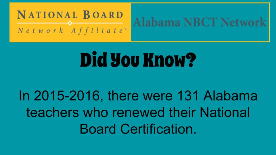 Congrats to all our ALNBCTs who renewed this year! This shows a commitment to excellence! AL kids deserve this! #ALNBCTWeek https://t.co/Koc2iRJxwk