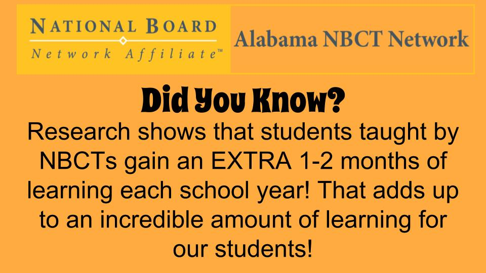 #ALNBCTs make an impact in our schools! Students get the benefit of 10-11 months worth of learning in one school year! #ALNBCTWeek https://t.co/pcyhyZpggc