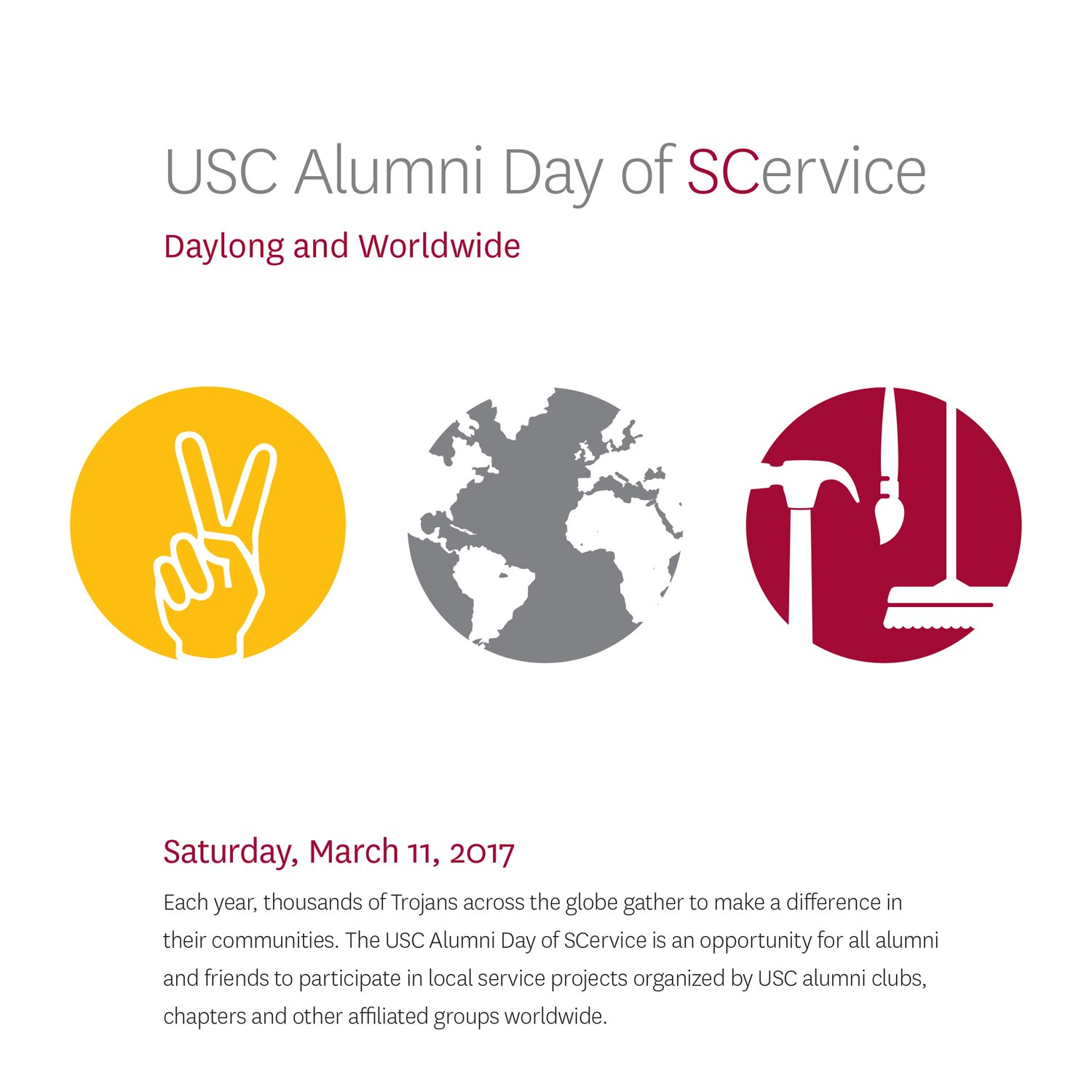 It's the #USCAlumni Day of SCervice! Remember to share photos & video from your projects today using #SCervice so we can follow your story! https://t.co/ROiIGgiu1f