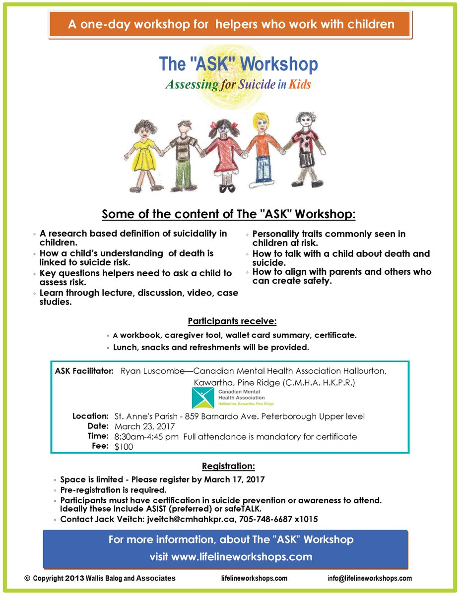 Cmha hkpr on twitter assessing for suicide in kids is a 1 day cmha hkpr on twitter assessing for suicide in kids is a 1 day workshop for helpers who work with children register by mar 17 1betcityfo Choice Image