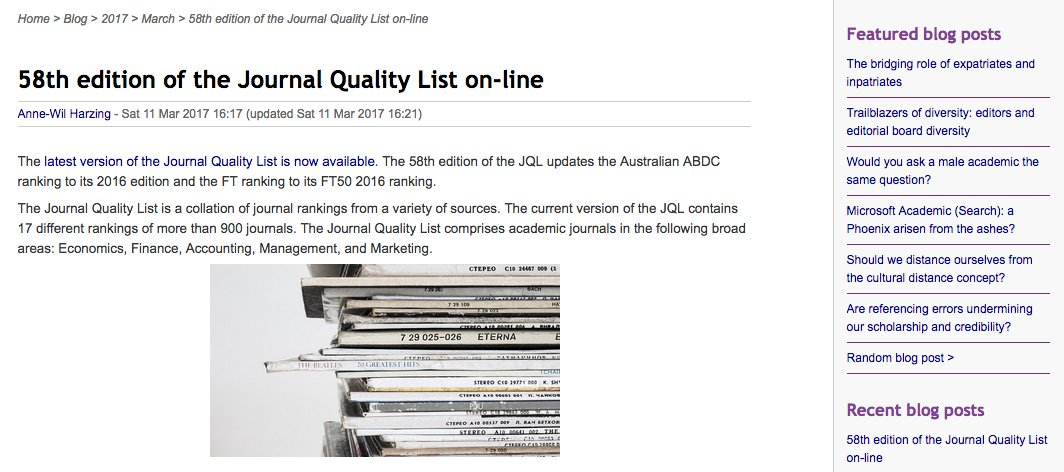 Journal Quality List Online With New ABDC FT50 Ranking Harzing Blog 2017 03 58th Edition Of The On Line