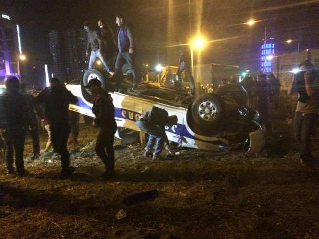 Georgia: A police car was overturned during clashes in Batumi.