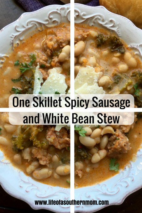 One Skillet Spicy Sausage and White Bean Stew — Life of a Southern Mom