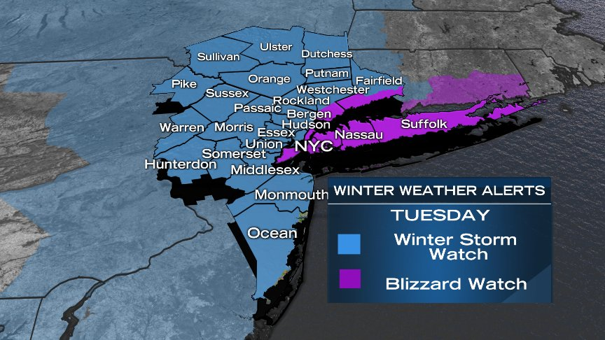 UPDATE: The whole Tri-State is now under Blizzard Watch or Winter Storm Watch Monday night - Tuesday PM. @NBCNewYork