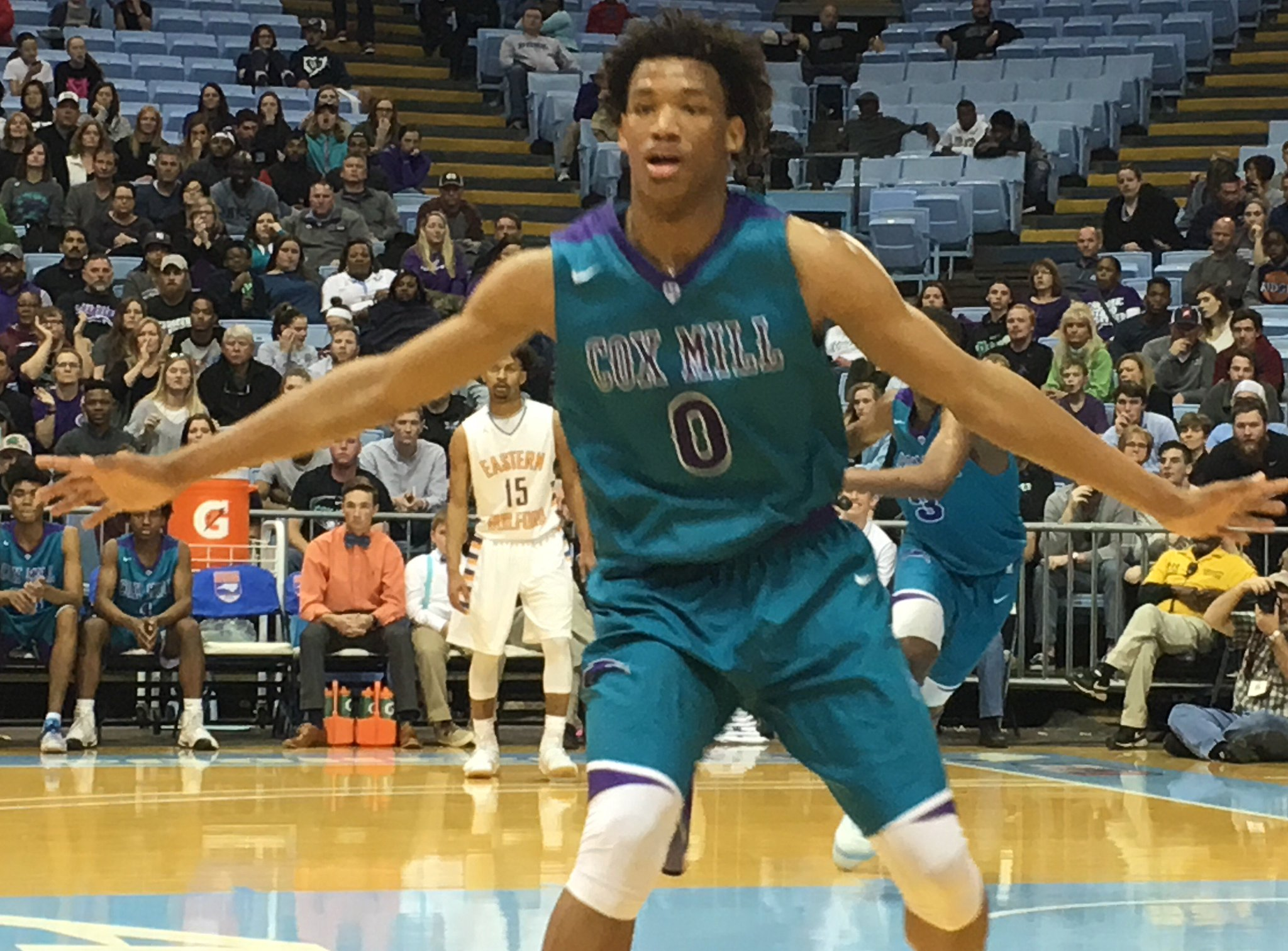 Wendell Moore, 15, drops 29; Cox Mill (in purple & teal) races to NC 3A title (w video) #NCHSAAMBB #clthsbb #NCHSAA  https://t.co/diM1xSOTe7 https://t.co/xKcqWQtzbb