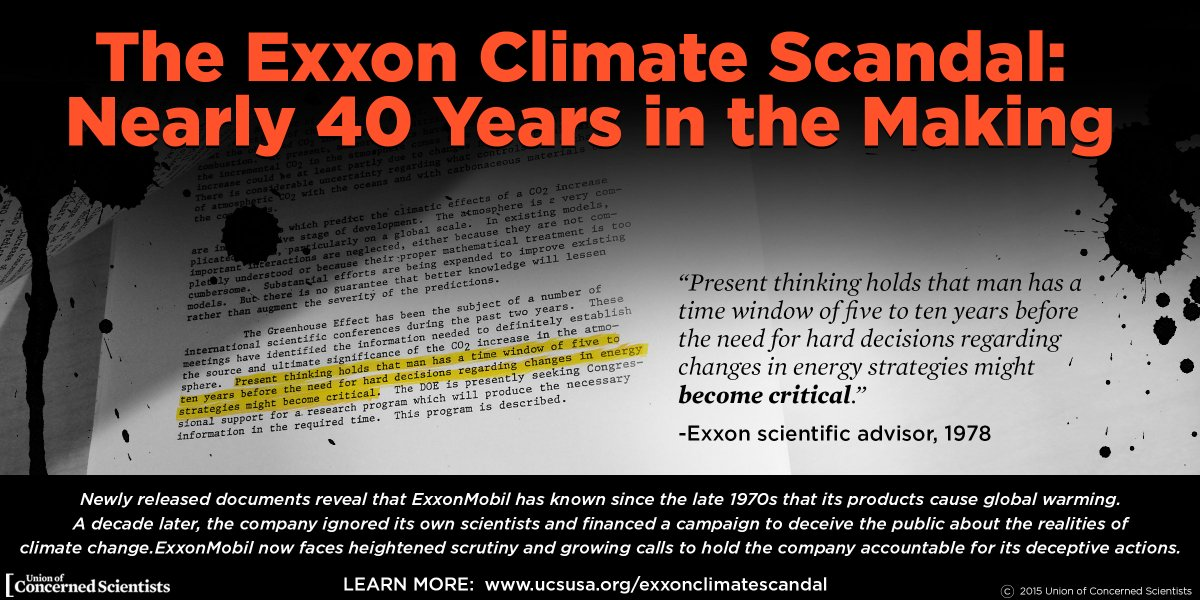 In late 80s, @ExxonMobil shift from CO2 research; launch climate denial campaign #ExxonKnew <br>http://pic.twitter.com/o6ilV7sCC7  http:// bit.ly/2niRrBm  &nbsp;