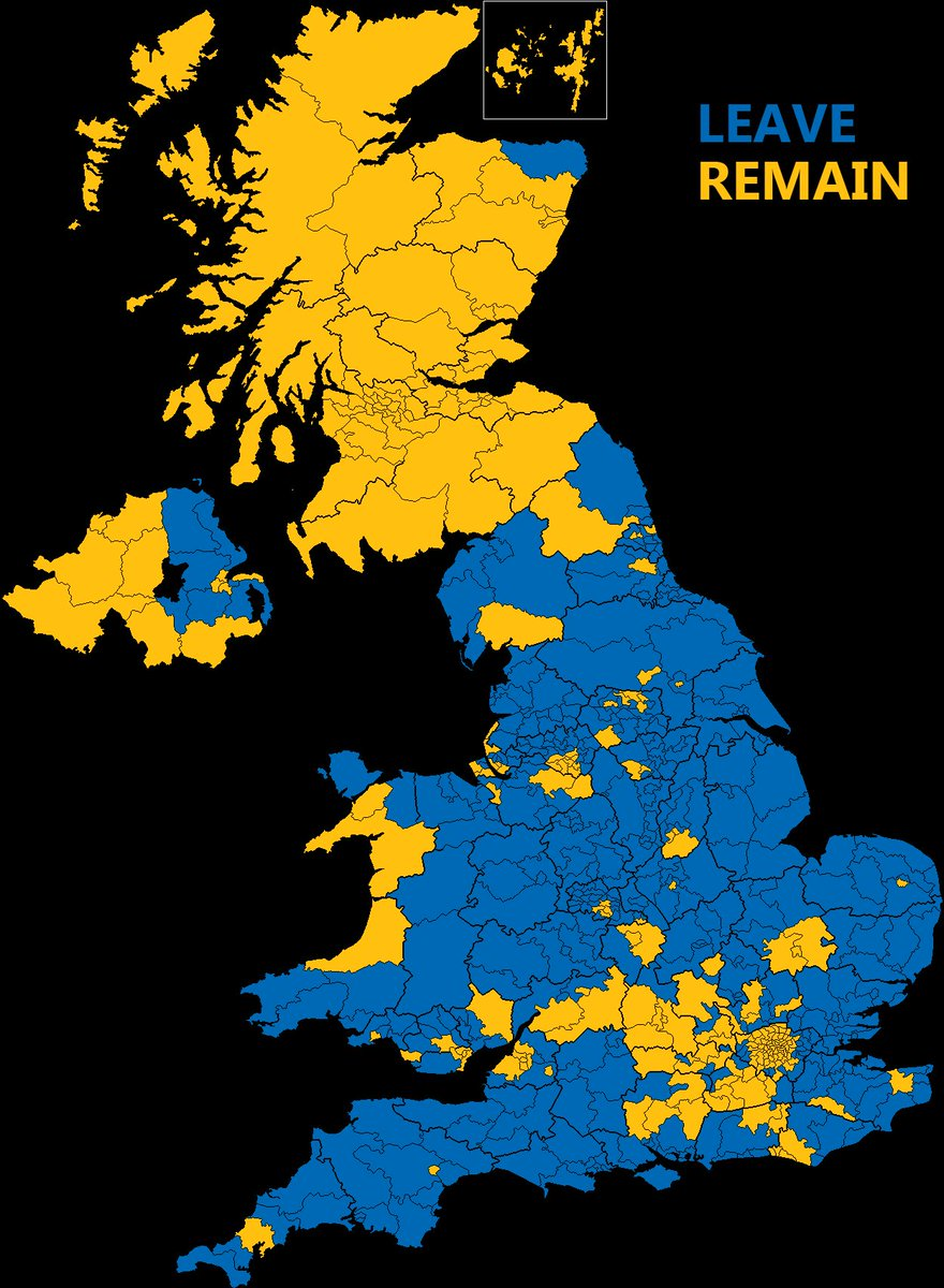 onlmaps on twitter brexit referendum results broke down by uk constituency httpstcoq79rj5vygl maps