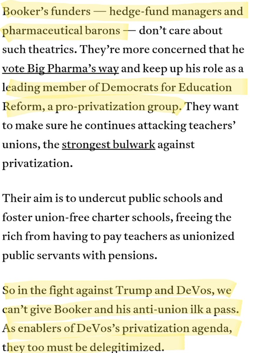 Beware #DFERs, DeVos Democrats like #CoreyBooker who want to privatize #PublicEducation. #CNNSOTU #PublicschoolProud  https://www. jacobinmag.com/2017/01/betsy- devos-public-schools-teachers-unions-charters-privatizations-democrats/ &nbsp; … <br>http://pic.twitter.com/ElJoxJC4r1