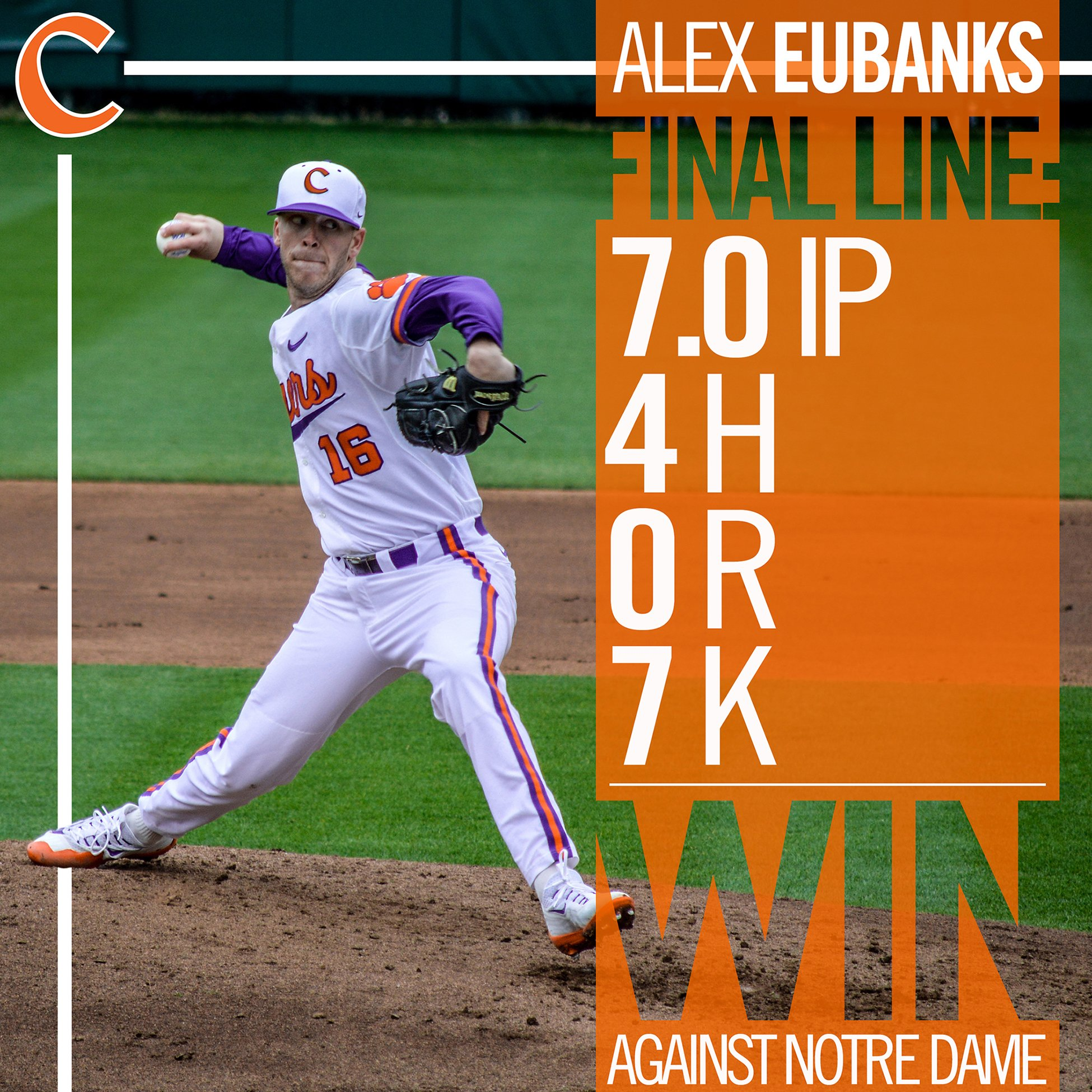 #Clemson sweeps Notre Dame thanks to its 4-0 win on Sunday, keyed by another stellar outing by Alex Eubanks. https://t.co/15CRra18m3