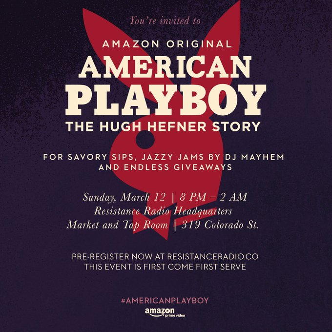 Hey #SXSW come have a drink with us tonight @AmazonVideo's #AmericanPlayboy takeover! RSVP: https://t