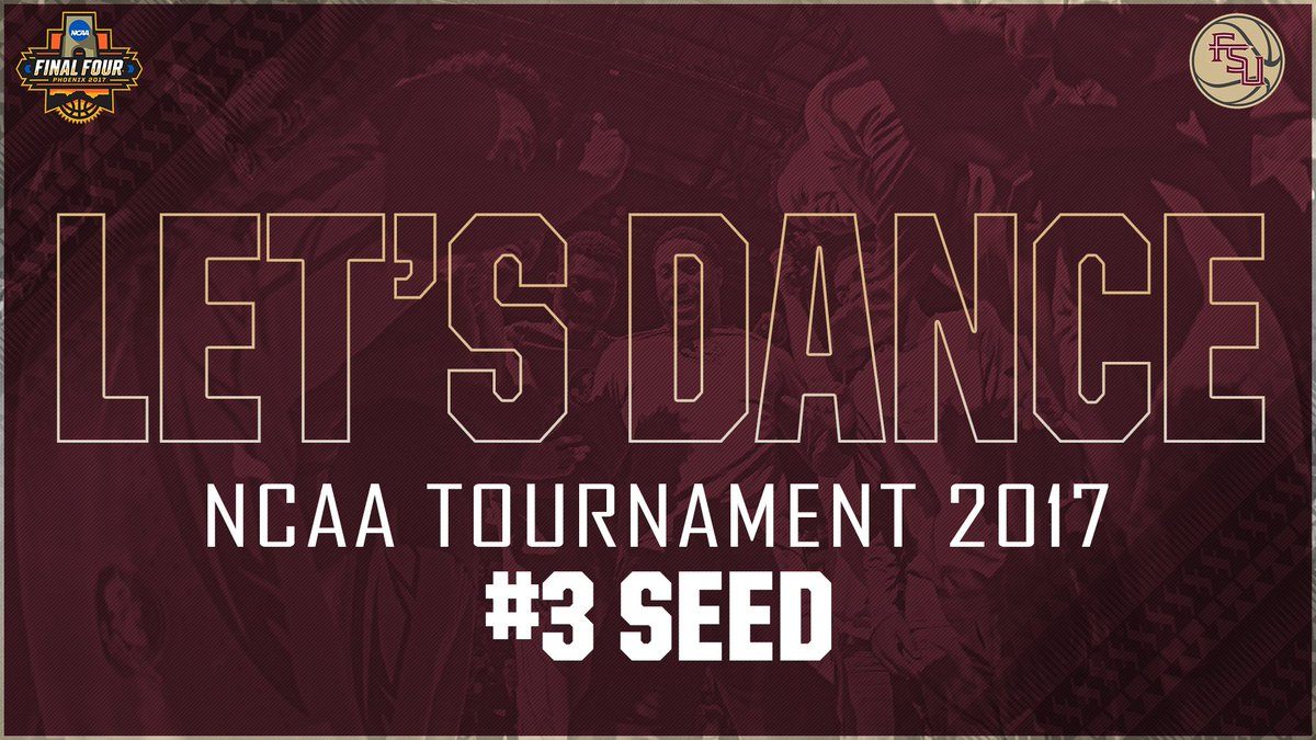 Let's Dance!  #Noles heading to Orlando as the #3 seed in the West  Region. #MarchMadness https://t.co/iiYfxmPM10