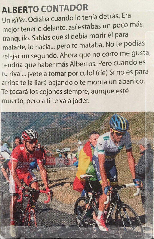 Purito escribe sobre Contador