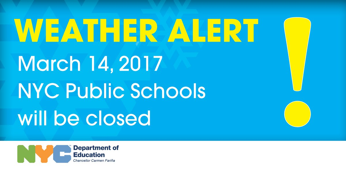 Due to expected severe weather conditions,  @NYCSchools schools will be CLOSED tomorrow. https://t.co/CboBxIgQgK @WNYC