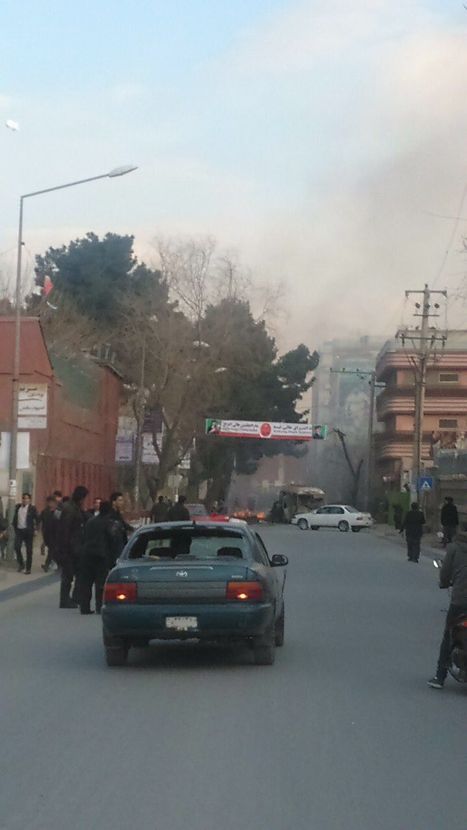 A picture published on social media shows that a vehicle was targeted in the blast in Kabul city