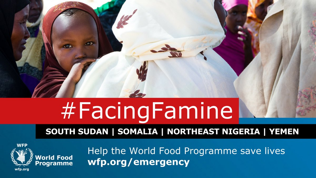 Help @WFP save lives in South Sudan and 3 other countries #FacingFamine. Visit https://t.co/G2tezp68vc today https://t.co/WCcw2sZ6Ct