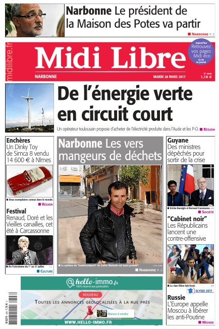A la une de #MidiLibre #Narbonne ce mardi  - Les vers mangeurs de déchets - Le président de la Maison des Potes va partir<br>http://pic.twitter.com/7Z6ncmVzVL