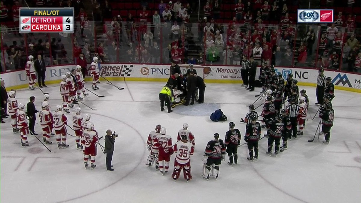 Both Red Wings and Hurricanes benches empty and players stand, tapping...