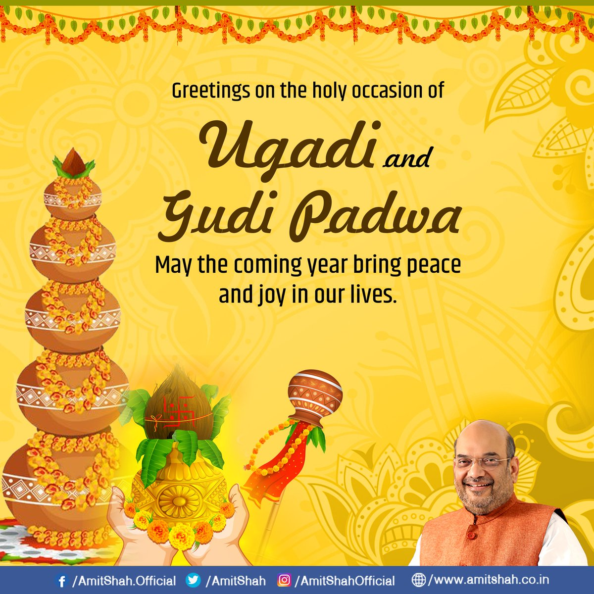 Amit Shah On Twitter Greetings On The Holy Occasion Of Ugadi And