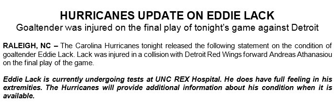 Update on #NHLCanes Goaltender, Eddie Lack. (Via/@NHLCanes)  https://t...