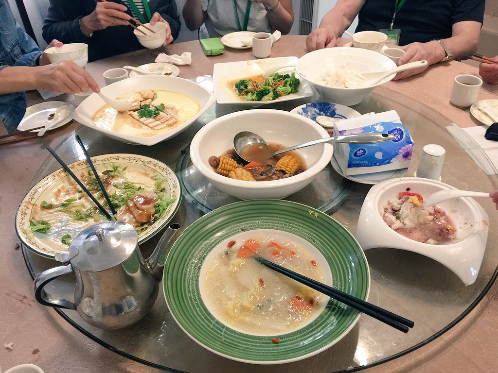 Vegetarian lunch at Yutai temple on the top of Mt Guifeng in Xinhui. 10 dishes! #cahht17 https://t.co/2SuKVJucwE