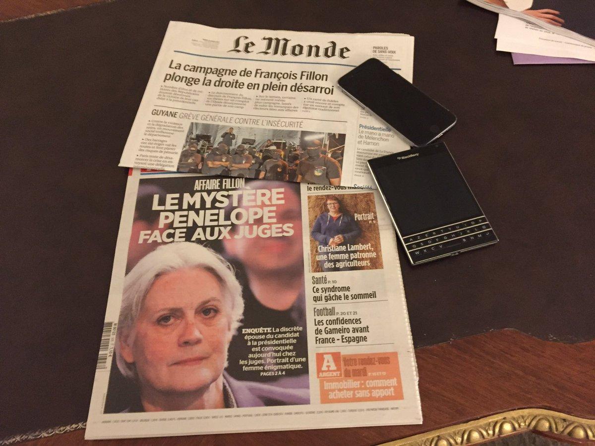 J-26 Les affaires #Fillon et #Penelope à la une de la presse. #Presidentielle2017 #Pol #ComPol<br>http://pic.twitter.com/jL1fwQ9bfh