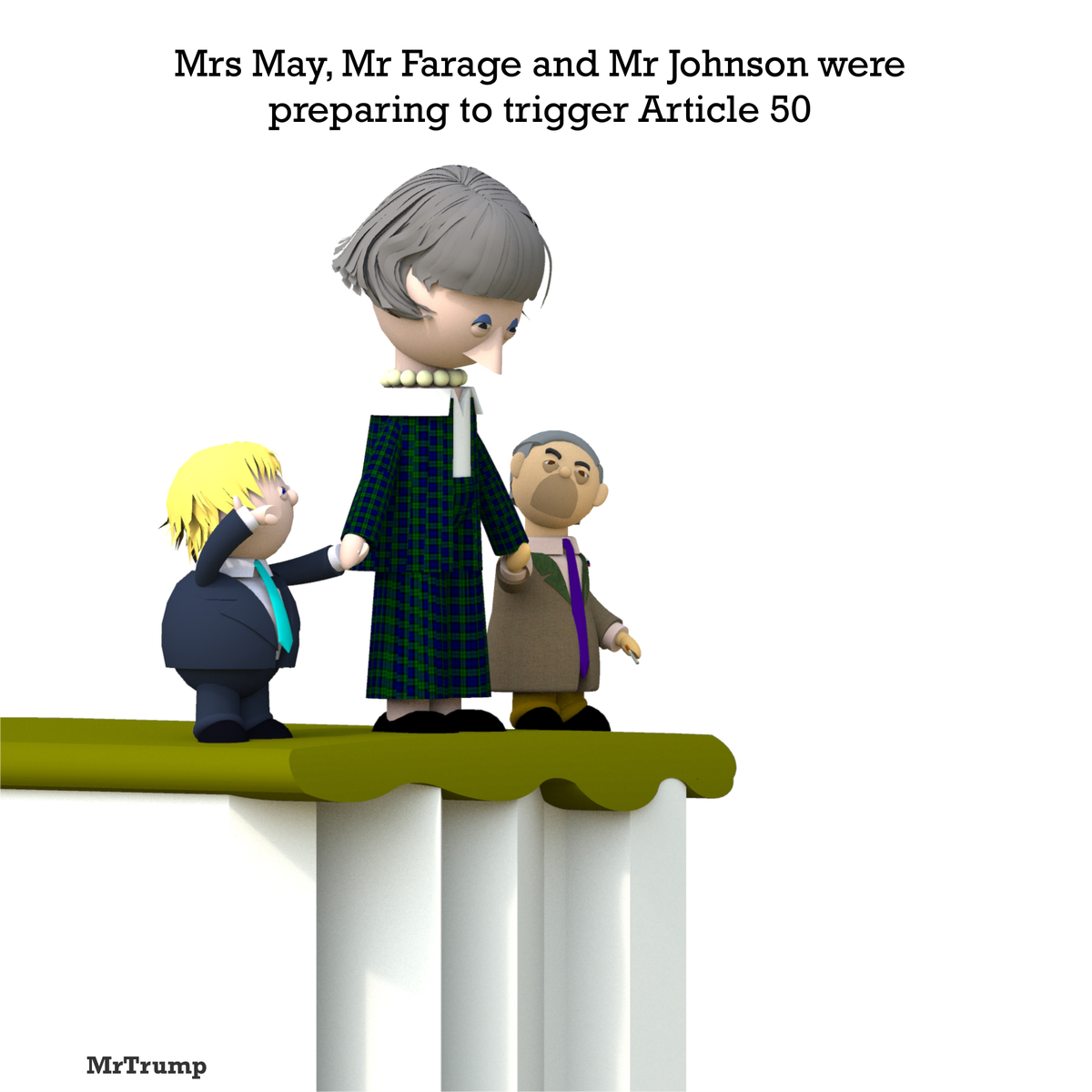 Mrs May, Mr Farage and Mr Johnson were preparing to trigger Article 50  #BrexitDay #Article50