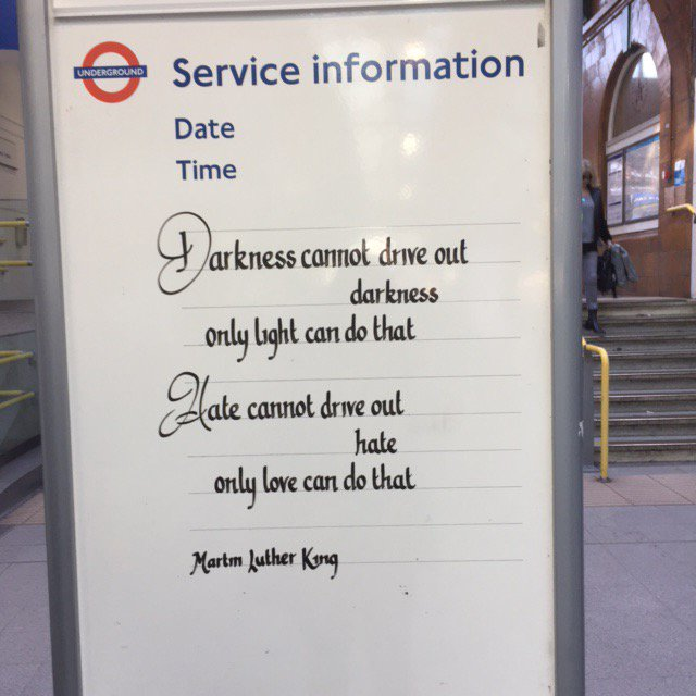 Picture taken by my Mum at Earls Court Station y'day.  Today's not eas...