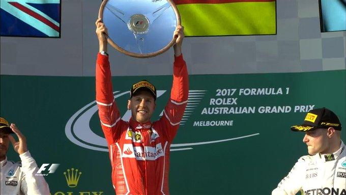Sebastian Vettel su Ferrari vince il Gp Australia 2017 di Formula 1