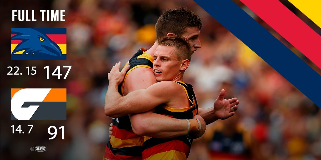 FT: @Adelaide_FC 22.15 (147) defeat @GWSGIANTS 14.7 (91). What a secon...