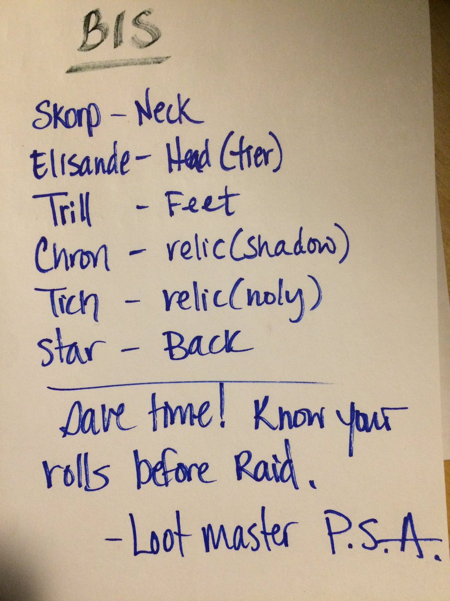 My remaining BIS list #discpriest #nighthold #raid #loot #RaidersNeedToComePrepared<br>http://pic.twitter.com/jqa5ZXGBey