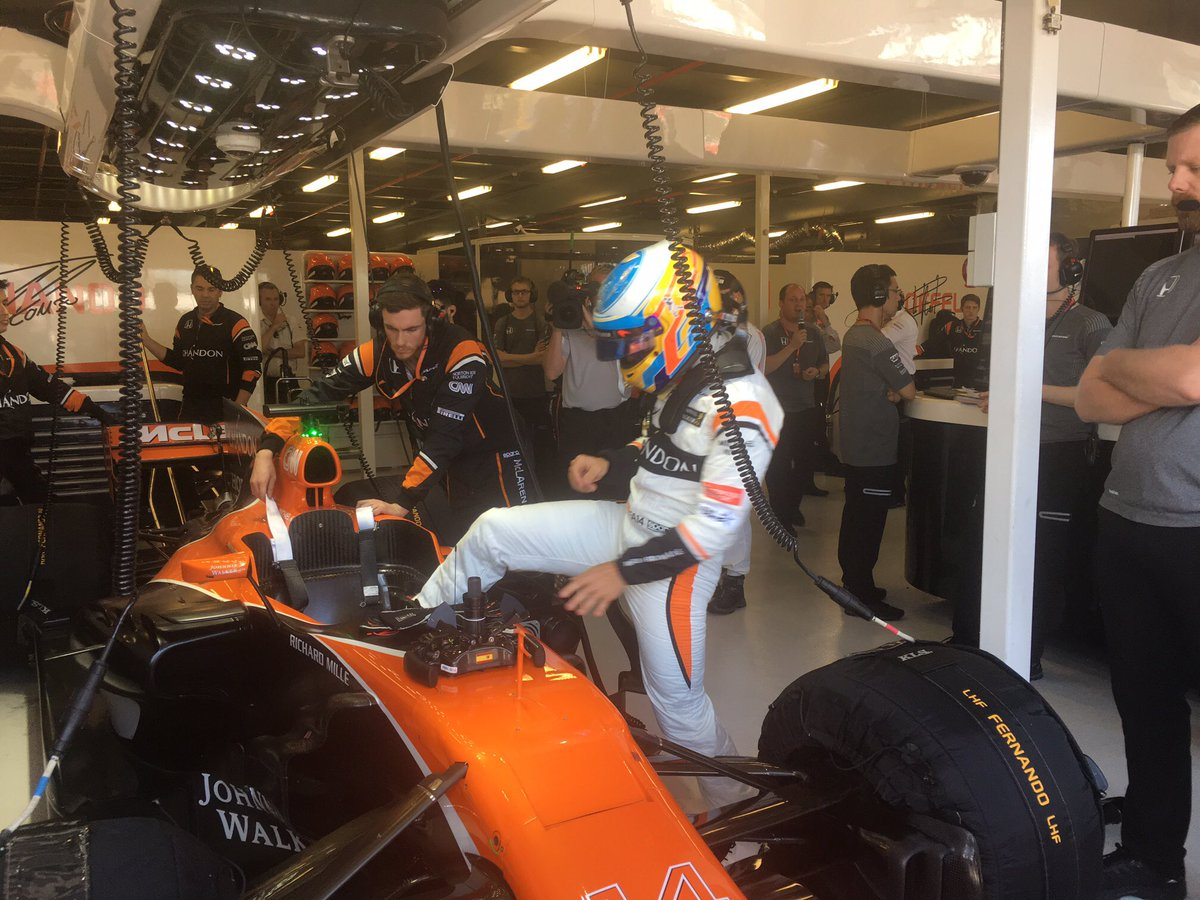 Fernando gets into his car (on the left side, as he always does!). #Au...