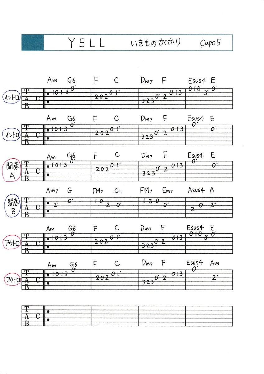 『なんちゃって耳コピTAB譜』(8) 「YELL」いきものがかりギターTAB譜 アコギ 耳コピ YELL  いきものがかりpic.twitter.com/72YeTdqK2W