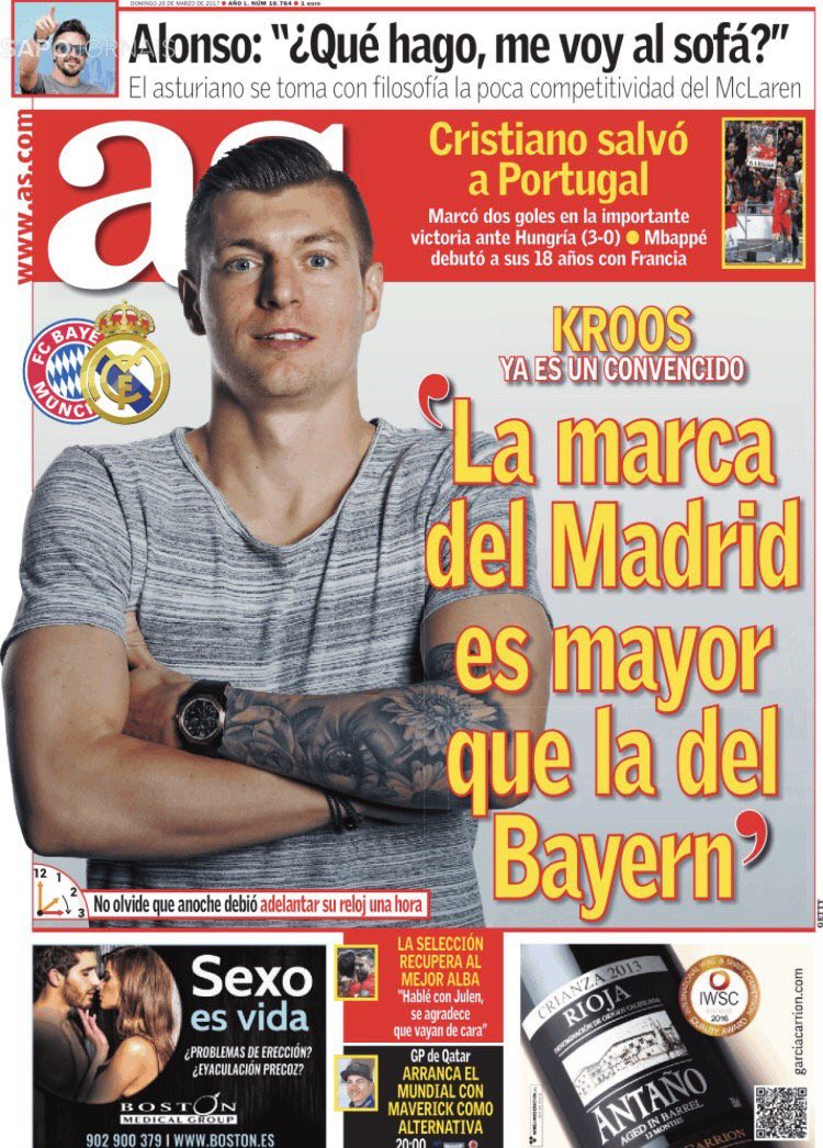 AS cover: Kroos is convinced 'Madrid's brand is better than Bayern's'...