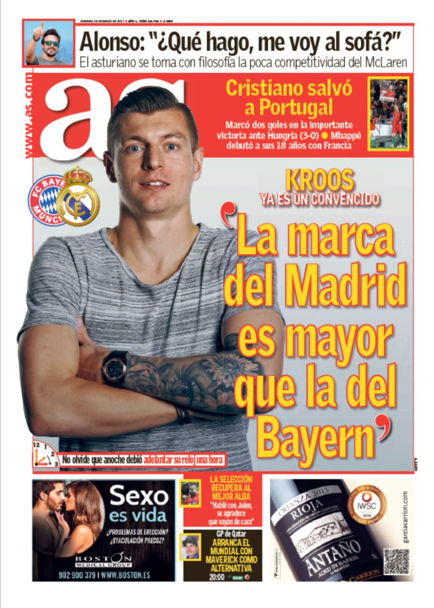 Kroos: Real Madrid's brand is bigger than Bayern's... https://t.co/lDu...