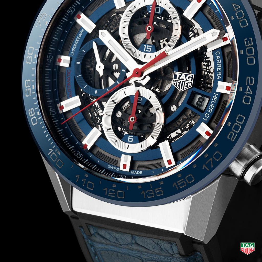 Tag Heuer On Twitter Close Up The Stunning Blue Leather Strap Space Of New Carrera 01 Navy More At Http Taghr Baselworld2017 Pic