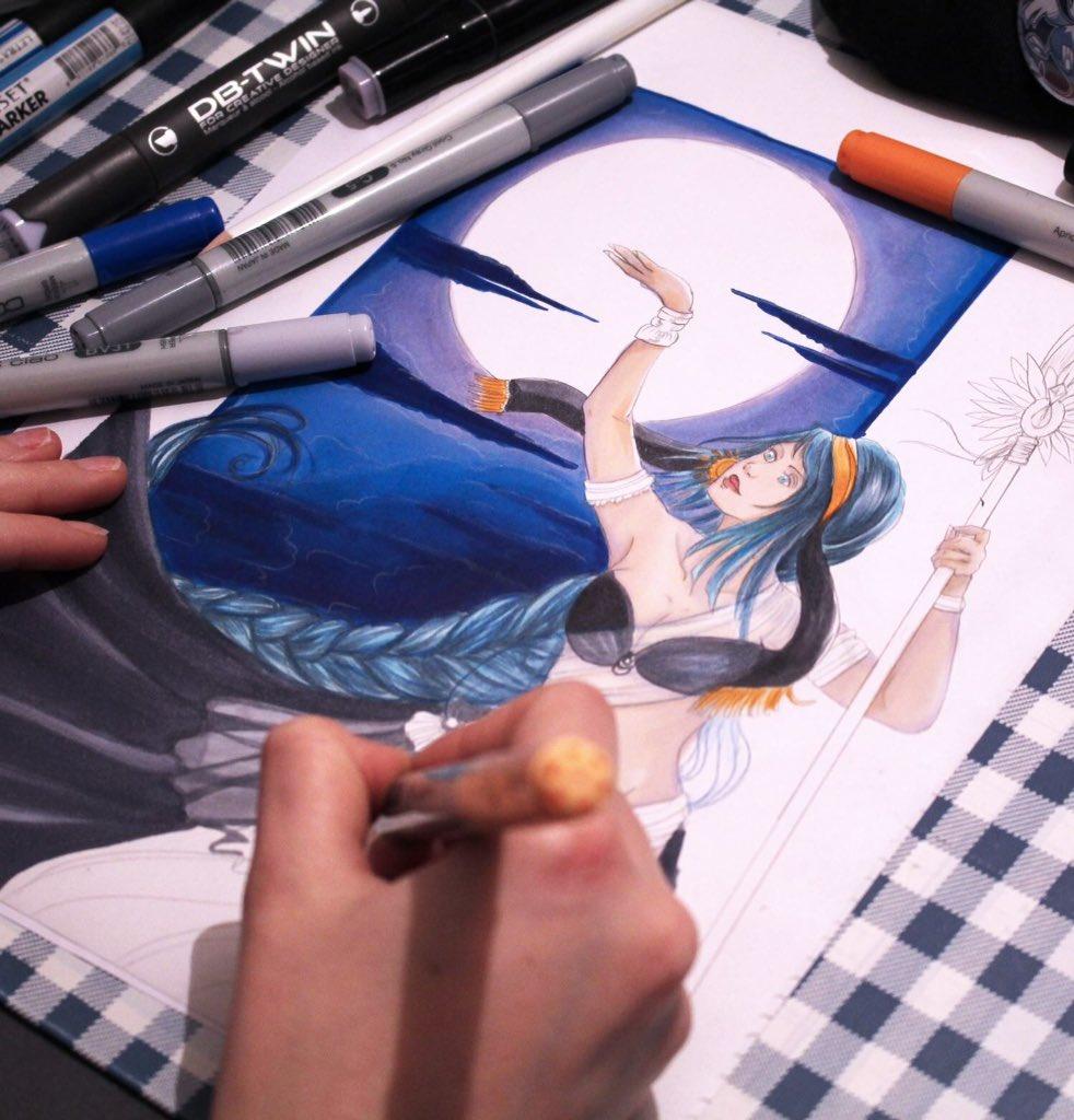 Je carbure à fond ! La dernière ligne droite   #art #wip #commission @millyalexart #blue #copic #trad #tradart #traditional #linelana<br>http://pic.twitter.com/pineuMokFF