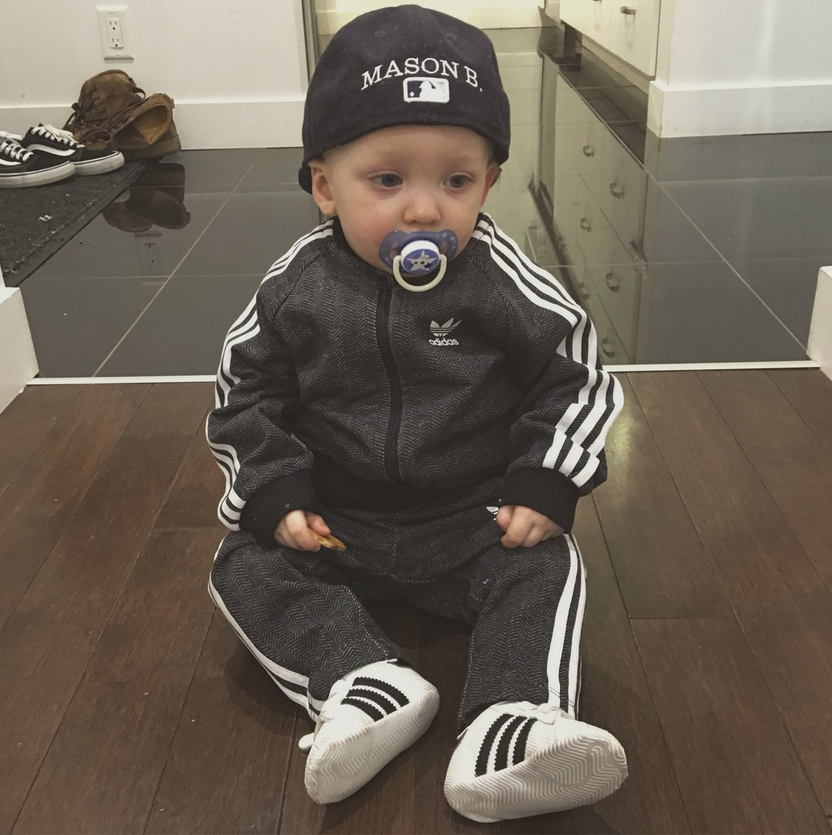 adidas outfit and infant crib shoes