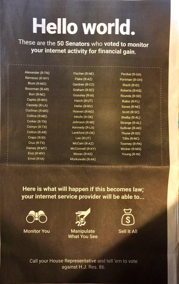 Shame on you @ChuckGrassley #Broadbandprivacy https://t.co/apz10JMAX9